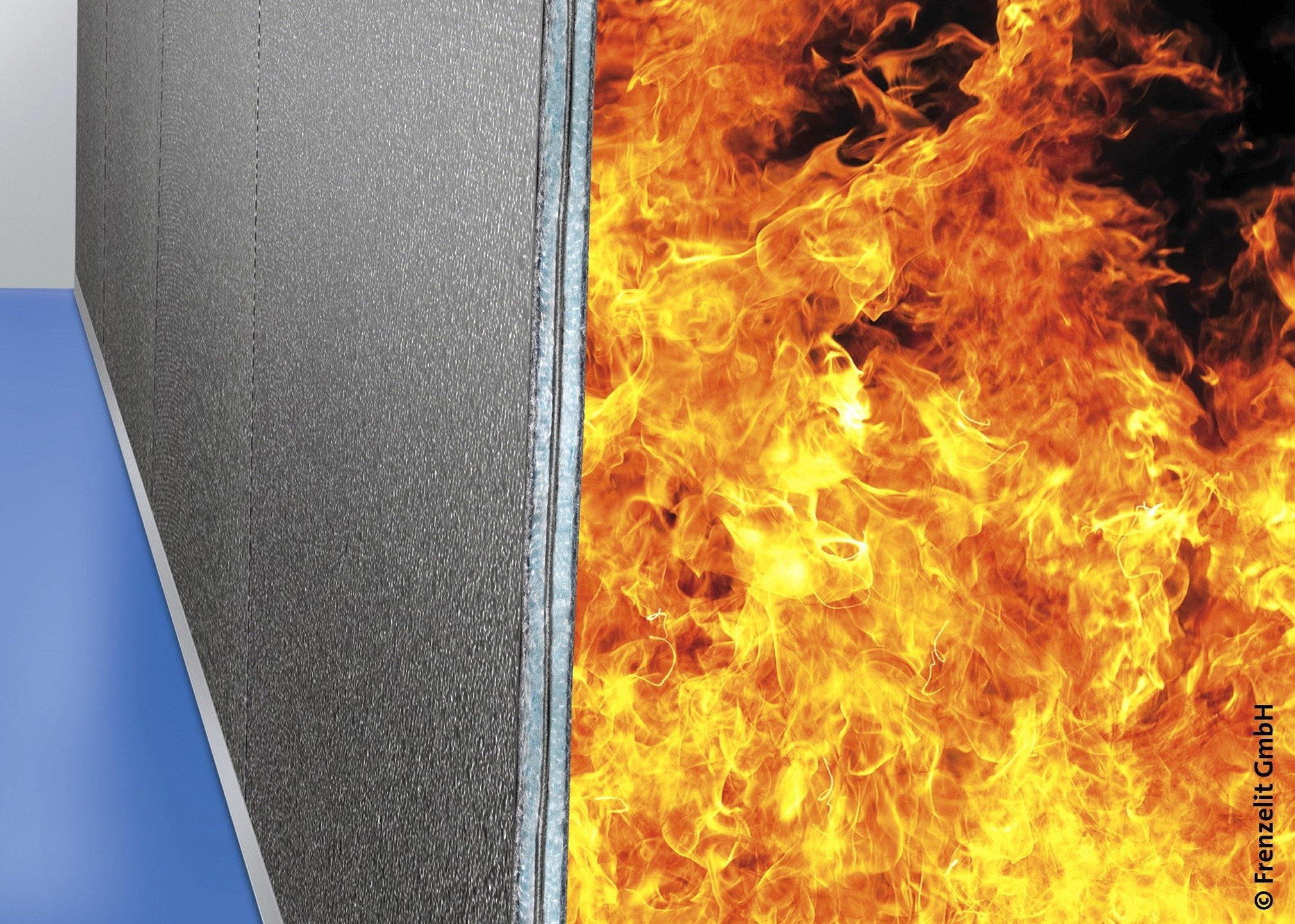 You can't pass it: among its future uses, the insulating glass-fibre fabric from Frenzelit will also function as a fire door / source: Frenzelit
