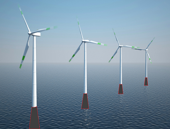 Looks promising: with their basalt socks, we expect offshore wind farms to be protected from unwanted fouling on an industrial scale. (Source: Peterseim Strickwaren)